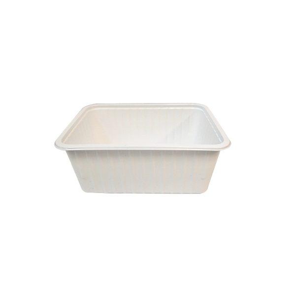 Műanyag szögletes alj 930ml PP (TCS) fehér könnyített 50db/cs 400db/krt