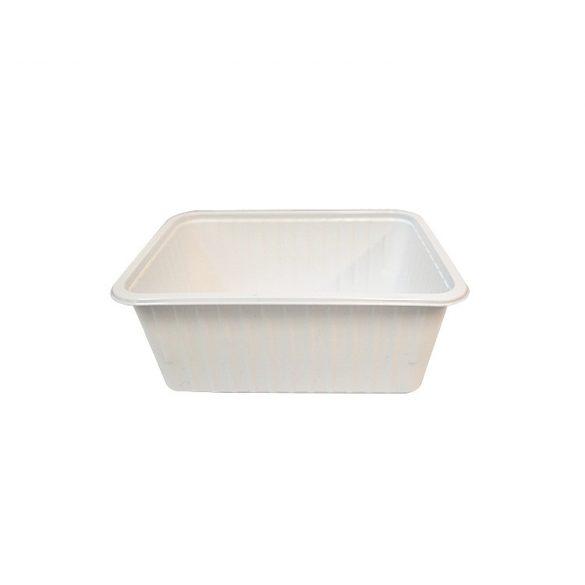 Műanyag szögletes alj 1000ml PP (TCS) fehér könnyített 50db/cs 400db/krt
