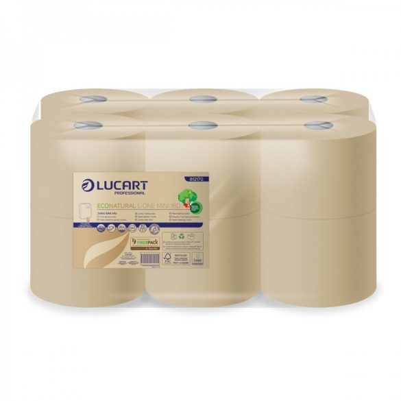 Lucart EcoNatural L-One mini 180 toalett papír 2 rét. (19cm átm., 900lap/tek) 12db/krt (892288 adagolóhoz)