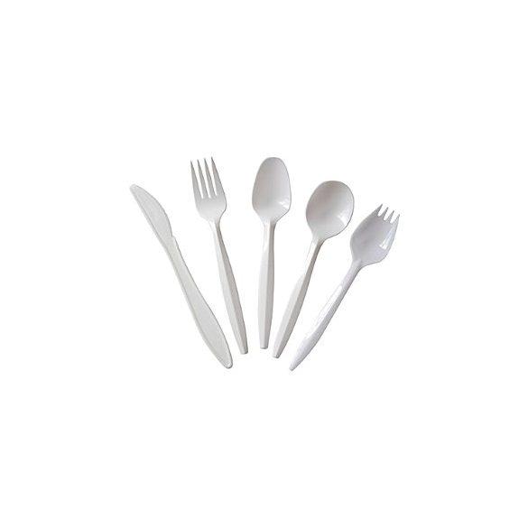 Csomagolt evőeszköz újrahasználható (műa. kés+villa+kanál+szalvéta) fehér 50db/cs 600db/krt