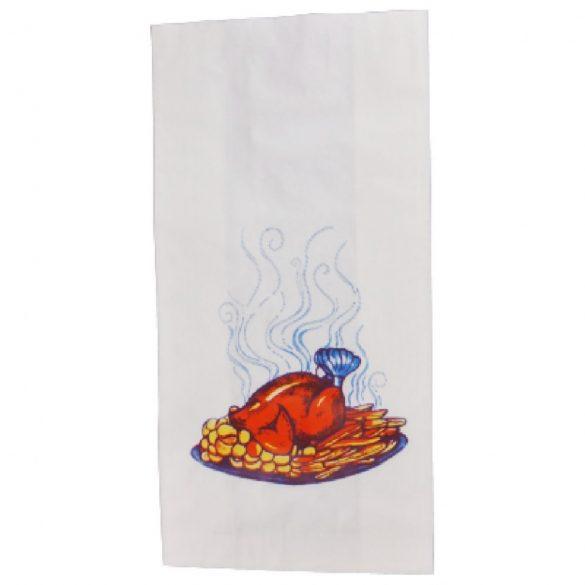 Papír tasak fehér zsírálló (grillcsirkés) 10,5+5,5x24cm 100db/cs 1000db/krt