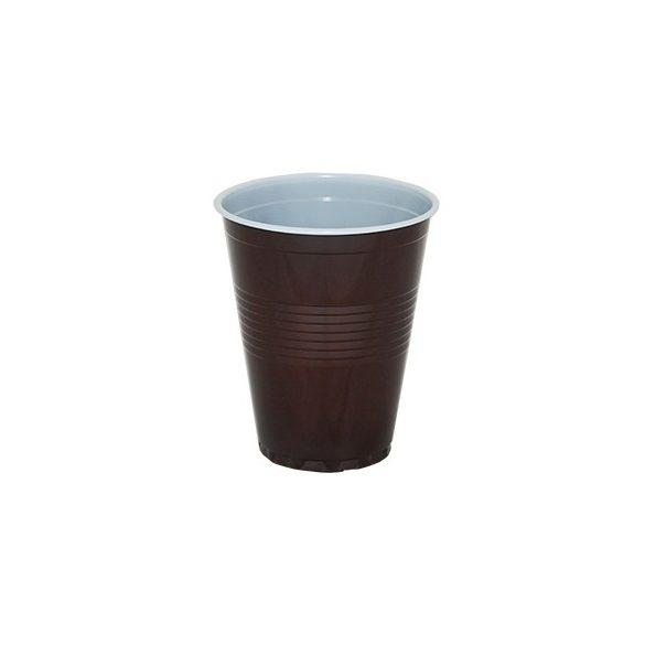Műanyag pohár barna-fehér automatába vízszintes mintával 1,5dl 100db/cs 3000db/krt