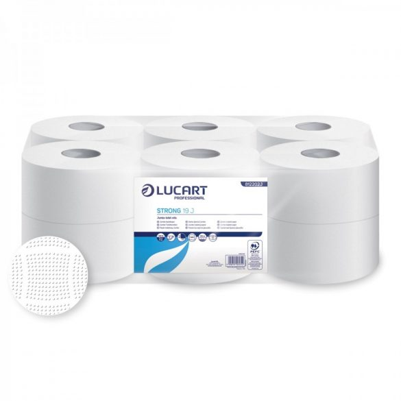 Lucart toalettpapír, 2rtg., cellulóz, 19cm, 130m 12tek/cs