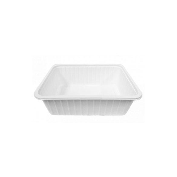 Műanyag szögletes alj 750ml PP (TCS) fehér könnyített 50db/cs 400db/krt